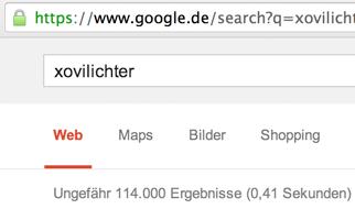 Googlesuche Xovilichter Anzahl Ergebnisse