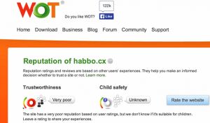 Negative WOT Reputation der Domain habbo.cx