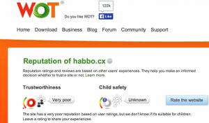 Negative WOT Reputation der Domain habbo.cx